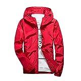 TIFIY Männer Herbst-Winter-beiläufiger Reiner Farbe des Hoodie Zipper Outdoor Sport Jacken-Mantel(rot,EU 50/CN 4XL)