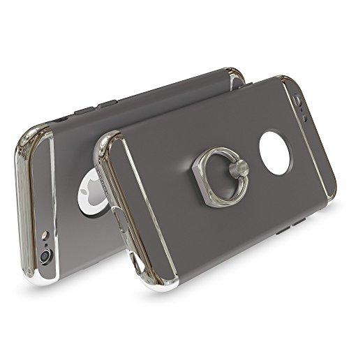 iPhone 6 6S Coque avec Bague de NICA, Housse Protection Case Mince avec 360 Degrés Rotation Ring Stand, Etui Rigide Ultra-Fine Bumper Cover pour Telephone Portable Apple iPhone-6S 6 - Gold Or Gris