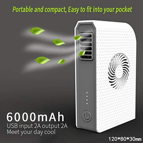 Mini-Tischventilator, Luftbefeuchter mit Würfelventilator, tragbarer USB-Handventilator, mobiles Ladegerät mit 6000 mAh und hoher Kapazität, tragbarer Mini-Ventilator, Schutz vor Hitzschlag (White)