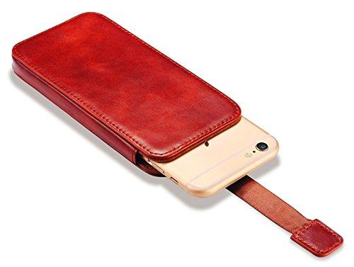 Luxus Tasche für Apple iPhone 6S Plus, iPhone 6 Plus und iPhone 7 Plus (5.5 Zoll) / Case Außenseite aus Echt-Leder / Etui Innenseite aus Textil / Schutz-Hülle mit Ausziehband und Kartenfächern / ultra Rot - vintage