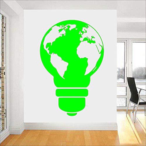 Art Vinyl Fototapete Poster für Living Glühbirne Weltkarte Wandaufkleber für Schlafzimmer grün 42x65cm - Keramik Glühbirne-ring