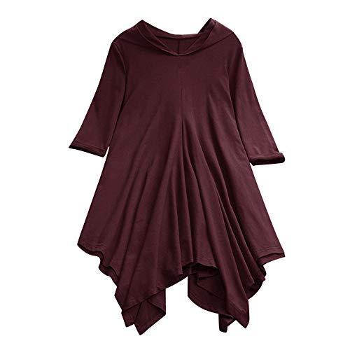 OSYARD Damen Hoodie Oberseiten Pullover Sweatshirt, Frauen Pulli Tunika Hemd mit Kapuze Große Größe Lose Baumwollleinen Hooded Tops Shirt Bluse Unregelmäßige Kapuzenpullove(4XL, Weinrot)