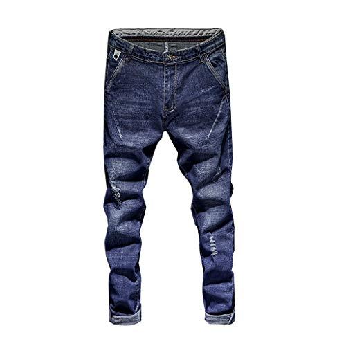 YiYLunneo Herren Destroyed Jeans Hose Stretch Freizeithose Denim Slim Fit Joggerhose Sporthose Trainingshose Stretch Denim Hosen Plissee Zerrissene Jeanshose - Herren Reise-jeans