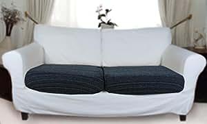 stretch sofahusse schwarz grau hussen f r 2 sitzkissen k che haushalt. Black Bedroom Furniture Sets. Home Design Ideas