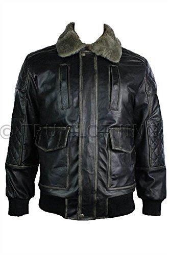Herren Leder Jacke, Bomber Piloten Style mit abnembarem Fell Kragen Schwarz