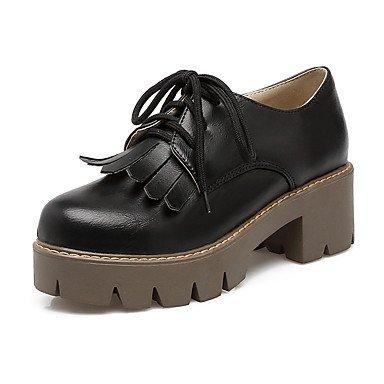 LYNXL delle donne scarpe tacchi Primavera Estate Autunno Comfort in similpelle ufficio & carriera Party & Sera casuale tacco grosso Lace-up TasselBlack Giallo Grigio Gray