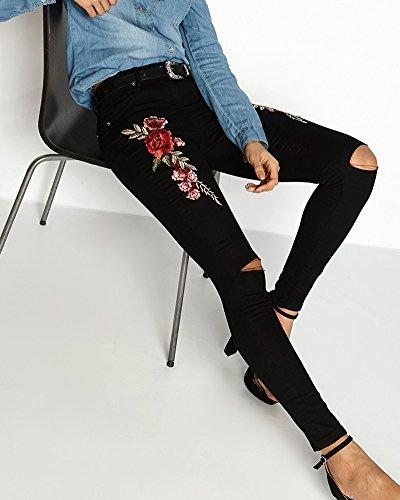Donna Ginocchio Strappato Skinny Jeans Ricamo Pantaloni a Vita Alta Legging Nero