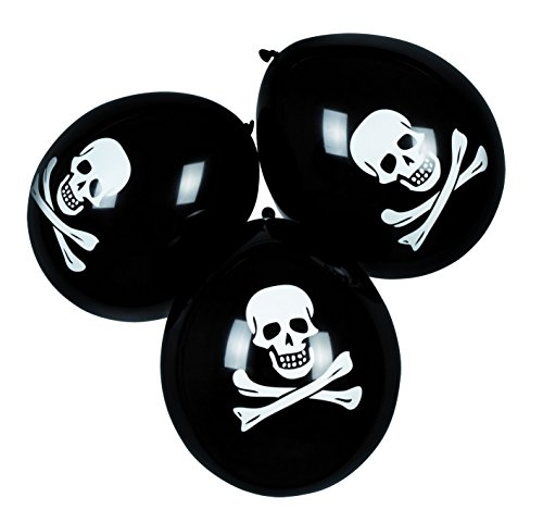 Boland 6 Pack of Halloween Pirate Skull & Cross Bone Decoration Party Balloons (Disfraz Piratas Halloween)