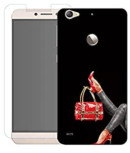 Combo of Hand Bag HD UV Printed Mobile Back Cover and Tempered Glass For Letv Le 1S