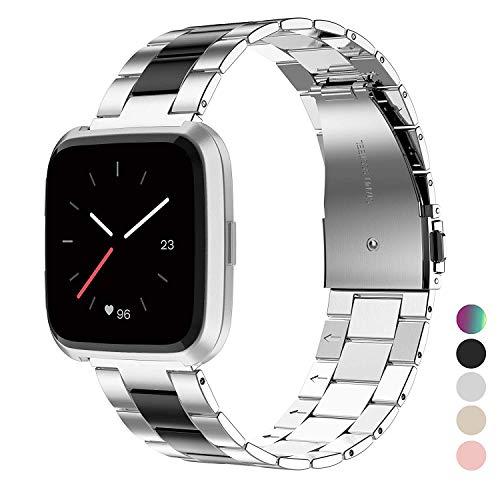 Wearlizer für Fitbit Versa Armband/für Fitbit Versa Lite Armband, Edelstahl Ersatzband Armbänder für Fitbit Versa Special Edition Klein Groß - Silber + Schwarz