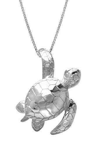 Sterling Silber–Turtle Honu Anhänger mit 18Box Kette Halskette von Honolulu Jewelry Company