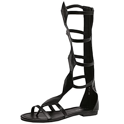 Oasap Women's Cut Out Knee High Strappy Gladiator Flat Sandals, Black EURO35/US5/UK3
