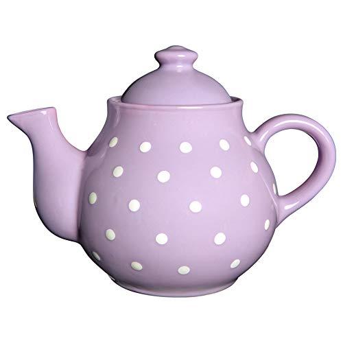 Ciudad a Cottage lunares grande 1,7L/60oz/4–6taza tetera de cerámica hecho a mano pintado a mano (violeta y blanco)