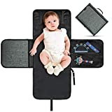 VOLADOR Baby Portable Changing Pad, Waterproof & Foldable Changing Mat with Head Cushion, Travel Home Change Mat Organizer Bag for Toddlers Infants and Newborns-Long Size with 80cm/31.5in