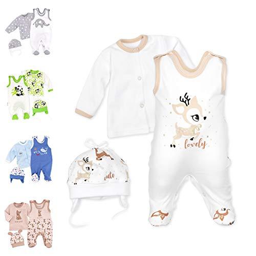 Baby Sweets Baby Set Strampler Shirt Mütze Unisex weiß beige braun | Motiv: Lovely Deer | Babyset 3 Teile für Neugeborene & Kleinkinder | Größe 3 Monate (62)...