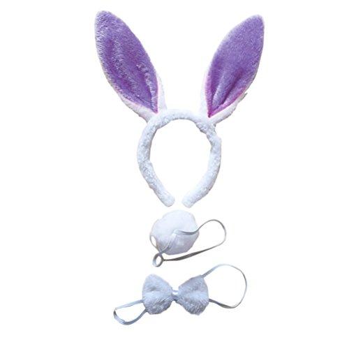 BESTOYARD 3 Stücke Kaninchen Bunny Ohren Stirnband Fliege Schwanz Set Bunny Cosplay Kostüm Zubehör für Geburtstag Ostern Party (Weiß Lila)