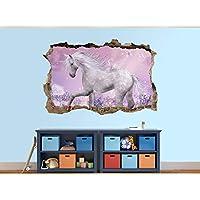 3D Beautiful Unicorn Photo Hole in Wall Sticker Wall Mural (10482356) 3D Unicorn (30cm x 20cm)