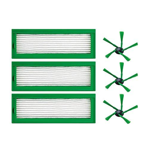 SODIAL Wartungs Kit 3X Ersatz Hepa Filter Ersatz Staub Filter Allergie Filter Mikro Filter + 3X Buersten Seiten Buersten Satz Fuer Vorwerk Kobold Vr200