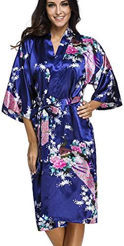 OLIPHEE Lange Kimonos für Damen Bademantel aus Satin mit Pfau und Blüten Morgenmantel Robe Dunkelblau M -