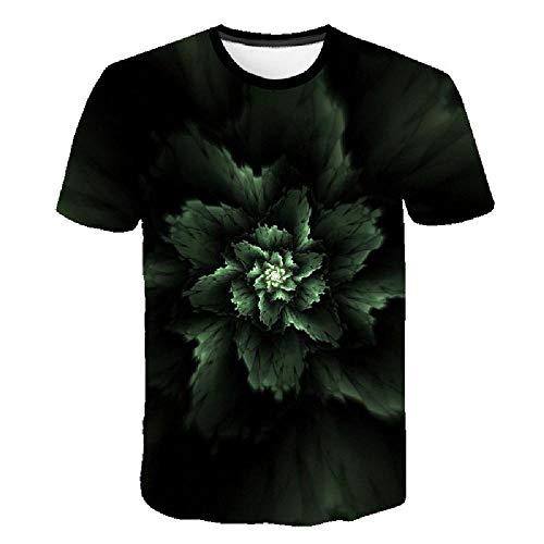 Simple Street Fashion 3D-Druck Geometrie Herrenhemd Sommer Großes T-Shirt Einzigartiges Top, grüne Pflanzenblätter 3XL - Lee T-shirt Hat