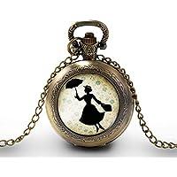 """Collana orologio da taschino - orologio da tasca, cabochon""""Mary poppins"""", Regalo di Natale - idea regalo - regalo moglie - San Valentino- regalo di compleanno - bronzo (ref.95)"""