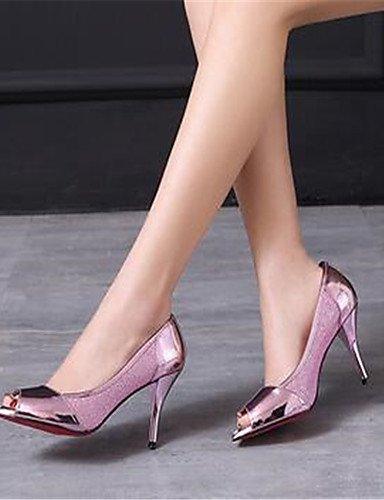 WSS 2016 Chaussures Femme-Décontracté-Rose / Argent-Gros Talon-Talons-Chaussures à Talons-Polyuréthane pink-us8 / eu39 / uk6 / cn39