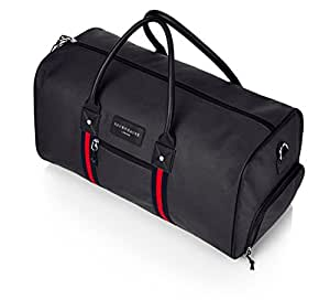 Large PREMIUM Quality 2 in 1 combo Gym Bag Duffle Bag Sports Bag Comes with FREE Drawstring Bag Overnight Travel Holdall Bag Weekend Travel Bag Cabin Carry on Luggage with separate Shoe compartment (Black With Red Stripe)