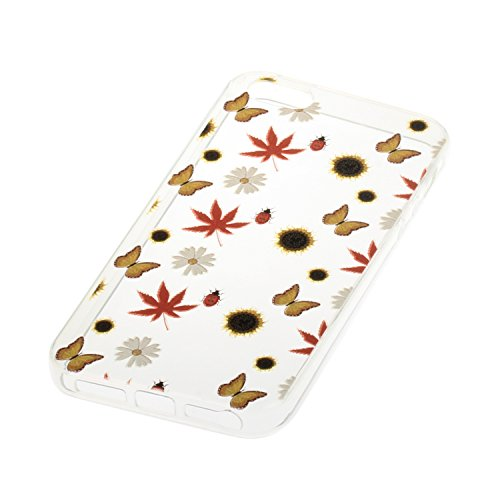iPhone 5S Coque, Voguecase TPU avec Absorption de Choc, Etui Silicone Souple Transparent, Légère / Ajustement Parfait Coque Shell Housse Cover pour Apple iPhone 5 5G 5S SE (Quicksand campanula Saphir- Maple Leaf 02