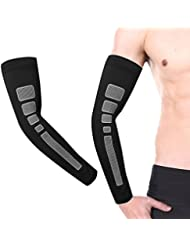 Befaith Barre de basket-ball Longueur des protège-bras Protecteur solaire Protection de sport avant-bras Coude de coude noir L 1#