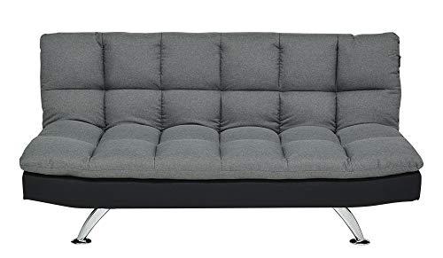 Enrico coveri contemporary divano letto 3 posti in elegante tessuto trapuntato con struttura in acciaio, perfetto per arredo salone, soggiorno e cucina (grigio)