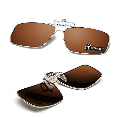 TERAISE Polarisierte Sonnenbrille des Metallclips, Sonnenbrille der Männer Klipp,Mit Flip-Funktion, Geeignet für Outdoor-Sportarten