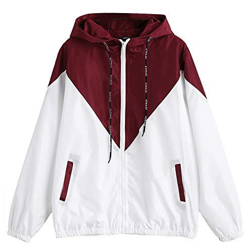 ZAFUL Damen Herbst Lässig Sport Langarm Patchwork Kapuze Windbreaker Jacken Outwear Reißverschluss Mantel(Rot-Weiss L) -