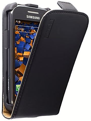 mumbi PREMIUM Cuir véritable Flip Samsung Galaxy Ace 2 - Housse Coque Etui à clapet Ace II poche Noir