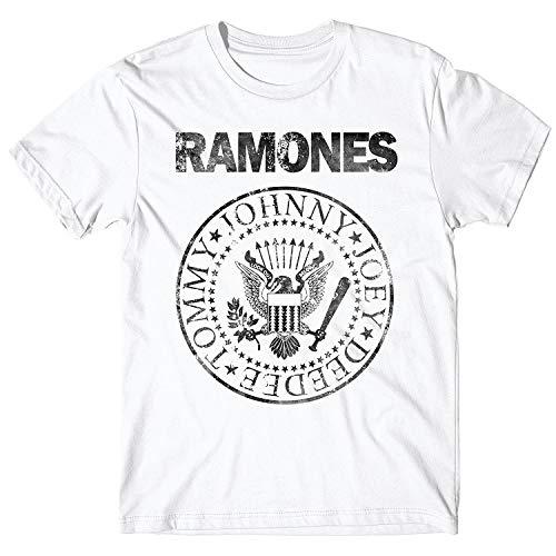 JEMASHOP Camiseta Hombre Blanca Inspirada EN Ramones Grunge Logo...
