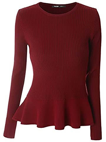 Mooncolour Women's Long Sleeve Knitted Fitted Peplum Tunic Top