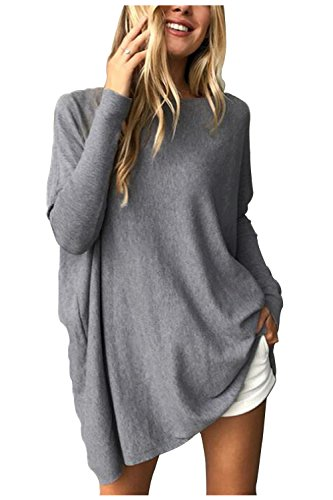 Aumir Womens Oversized Batwing Pullover Long Sleeve Loose Sweater Jumper Tops