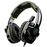 YaNanHome Gaming Kopfhörer Computer Kopfhörer mit Mikrofon Head-Mount Headset (Color : Green)
