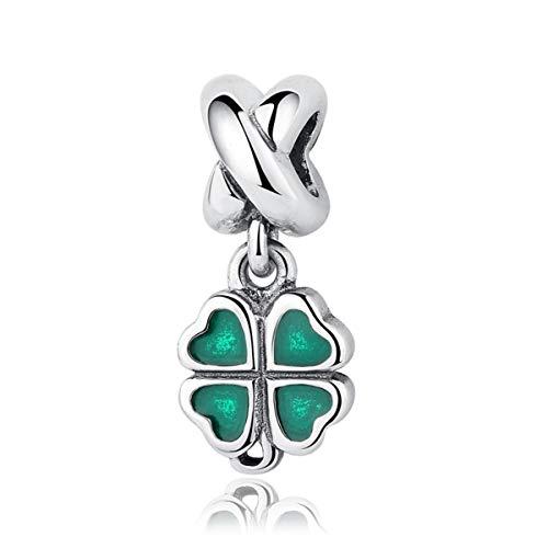 Authentic charm a forma di quadrifoglio, verde smaltata in argento sterling 925ciondoli pandora e altri braccialetti europei
