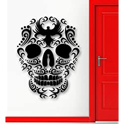 Cool Tribal Tatouage Sticker Mural Vinyle Art Design Sucre Crâne Mort Murale Murale Home Room Art Conception Wall Sticker 112x178cm