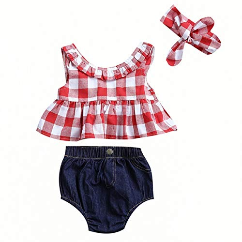 Haokaini Baby-rote Karierte Rüsche-Ausstattungen, Lässige Grid Weste Shorts Stirnband Set für Kleinkinder (Color : Plaid Ruffle A, Size : 6-12m) - Lässige Short Set