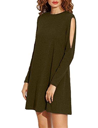 Monissy Femme Épaule Cassée Jupe lâche à Manches Longues Mini Robe Vert