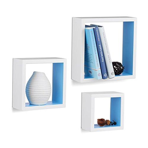 Relaxdays 10021791_361 mensole a muro quadrate, cubo, set da 3, legno mdf, varie misure, bianco/blu, 25 x 25 x 9 cm