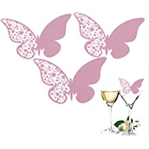 50pcs Tarjetas Decorativas para Copa Tarjets de Papel Nacarado Decoración para Bodas Fiestas Forma Mariposa Tallado Color Blanco Rosa Púrpura