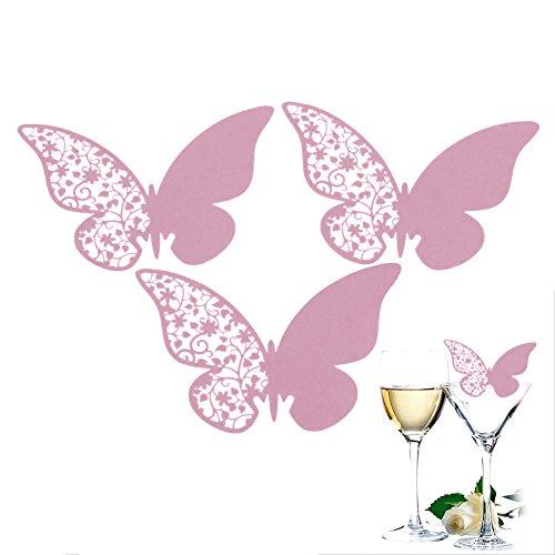 50X Pink Namensschilder Schmetterling Tischdeko Namenskarten Glasanhaenger fuer Weinglas Cup...