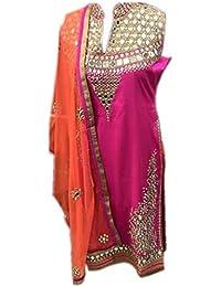 Kings Fashion Bazaar Women Georgette Anarkali Semi-Stitched Salwar Suit (GATMPU10710_Pink_Free Size)