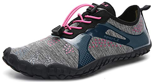 Herren Damen Outdoor Fitnessschuhe Barfußschuhe Trekking Schuhe Badeschuhe Schnell Trocknend Rutschfest(Braun Schwarz,41 EU)