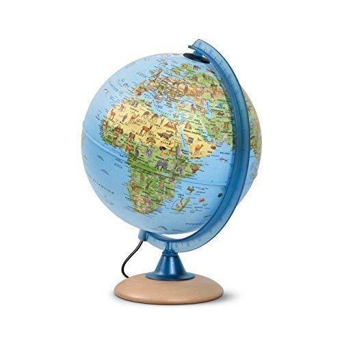 Mappamondo per bambini, Globo luminoso per bambini, diametro 25 cm, con tante illustrazioni interessanti, base di legno chiaro, testo in italiano