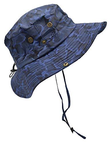Outdoor Sommer Boonie Hut für Wandern, Camping, Angeln, Operator Floppy Military Camo Sun Cap für Männer oder Frauen - Blau - Einheitsgröße Camo Military Cap