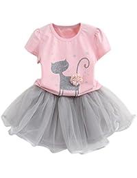 Vestido de niña, RETUROM La ropa impresa de la camisa y del vestido del gato de la muchacha encantadora del verano