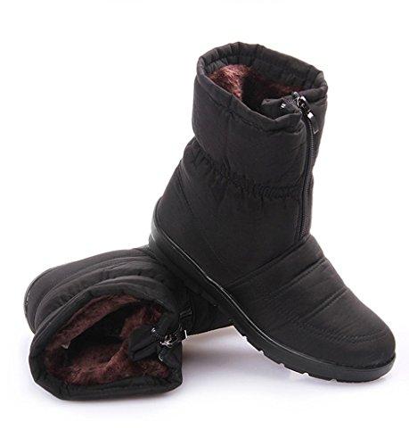 Fortuning's JDS Femmes Dames Hiver Imperméable Anti-dérapant Velu Velours Thermique Coton bottes Mère chaussures Bottes de neige Noir